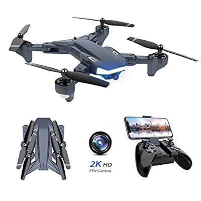Supkiir WiFi FPV Drone, Foldable RC Quadcopter with 2K HD Camera, Portable Aircraft Toy for Adults Beginners
