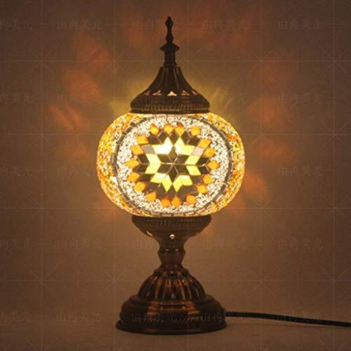 Lámpara de mesa de noche turca estilo marroquí, jardín al aire libre vela Navidad decoración de mesa (color: F), vidrio hierro metal, M, medium