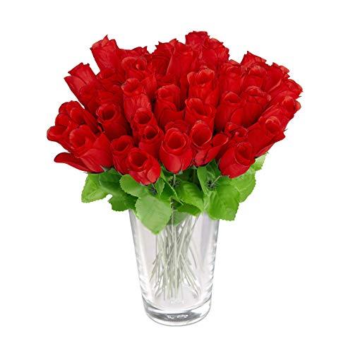 Relaxdays Kunstrosen rot, Kunstblumen, künstliche Dekoblumen, 48 Stück mit Stiel und Blättern, rote Köpfe, H: 26 cm, red