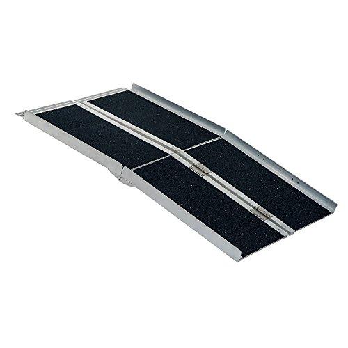 HOMCOM Rampa per Sedia a Rotelle in Alluminio Ripiegabile a Valigia 183 x 72cm Argento, nero