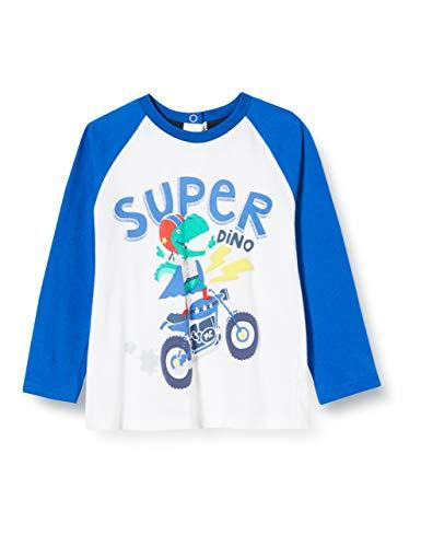 Chicco T-Shirt Manica Lunga Bimbo Camiseta de Tirantes, Blanco (Bianco BLU 033), 74 (Talla del Fabricante: 074) para Bebés