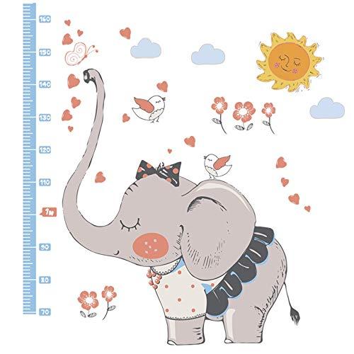 WandSticker4U- Wandtattoo riesiger ELEFANT BABY mit Messlatte GRAU I H: 1,8M I Wandaufkleber Wandsticker Wald-tiere Blumen Schmetterlinge Vögel Herzchen I Deko für Kinderzimmer Kinder Junge Mädchen XL