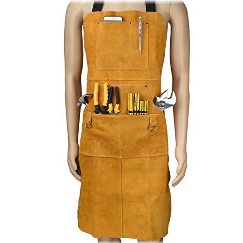 TXYJ Safety Shop Lederschweißarbeitsschürze, hitze- und flammwidrige Schutzkleidung oder Sicherheitskleidung für Schmiede, Holzarbeiten/Heimwerkerarbeiten/Hochleistungsarbeiten