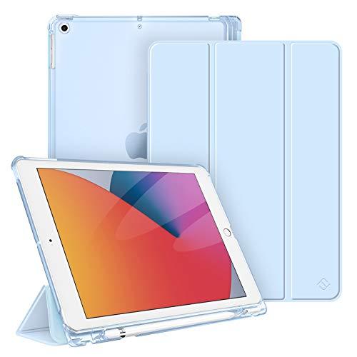 Fintie Funda Compatible con iPad 10,2' (9.ª/8.ª/7.ª Gen) 2021/2020/2019 con Soporte Integrado para Pencil - Trasera Transparente Carcasa Ligera Auto-Reposo/Activación, Azul Claro
