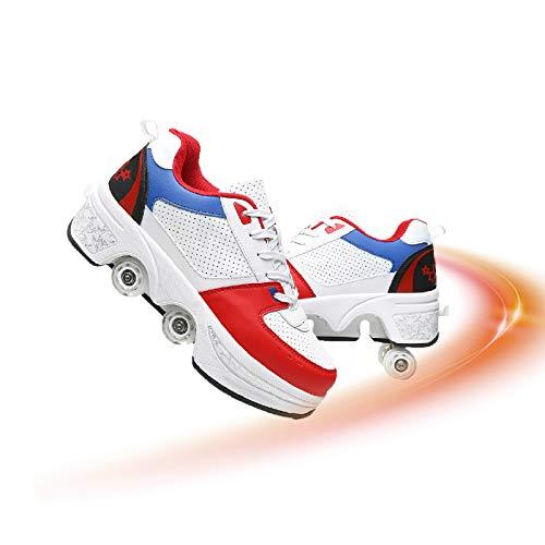 Hmlopx Patines automáticos de doble fila ajustables para caminar invisibles deformación 2 en 1 multifunción, polea extraíble, patines de patinaje, color blanco y azul, 40