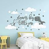 Dinosaurio de dibujos animados Dream Big One Nube Etiqueta de la pared Jardín de infantes Habitación de los niños Mundo Dinosaurio Animal Cielo Cielo estrellado Etiqueta de la pared-56x32cm