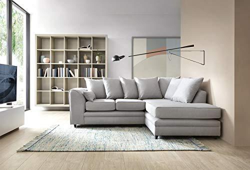 Abakus Direct Darcy Sofas in hellgrauem Leinenstoff, Eck-, 3- oder 2-Sitzer, Drehstuhl, Fußhocker (rechte Ecke)