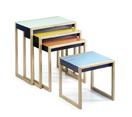 Josef Albers Nesting Tables Satztische, Original Bauhaus-Klassiker aus hochwertigem Material, Tischset Made in Germany, 4-er Set