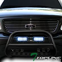 Topline Autopart Matte Black Bull Bar Brush Push Bumper Grill Grille Guard With Skid Plate + 36W CREE LED Fog Lights For 97-03 Ford F150 / F250 / 04 Heritage / 97-02 Expedition