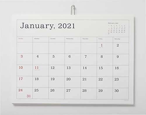 2021年葛西薫 カレンダー(罫線あり)