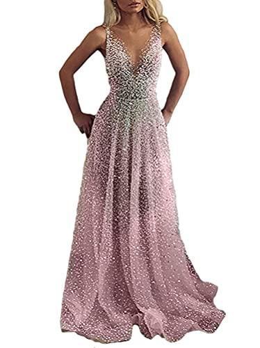 Minetom Cocktailkleider Damen Hochzeitskleid Frauen Festliches Kleid Glänzend Pailletten Elegant Lang Abend Party Ballkleid Brautjungfer V-Ausschnitt Split Maxikleid B Rosa XL