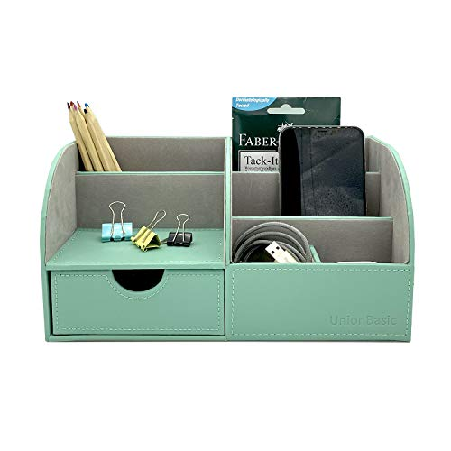 UnionBasic Multifunctional PU Leather Office Desk Organizer Business Card/Pen/Pencil/Mobile Phone/Stationery Holder Storage Box (Mint Green)