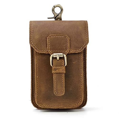 Cintura da uomo Marsupio in vera pelle da uomo Marsupio Borsa per sigarette Borsa da viaggio Marsupio (Brown 3)