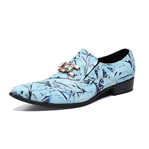 XER mannen leren schoenen lage hulp mode business tiener ademend, klassieke jurk avond, 37 naar 46 grootte, voor elke gelegenheid (blauw)