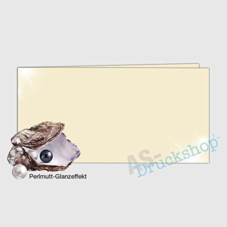 Faltkarte   Doppelkarte DIN-Lang -  Ivory  - mit Perlmutt-Glanz - 50 Stück B01MZ7DESV  | Stabile Qualität