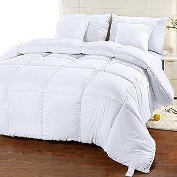 Utopia Bedding Comforter Duvet Insert - Quilted Comforter with Corner Tabs - Box Stitched Down Alternative Comforter  Queen White