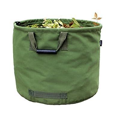 Garden Bags Reusable Yard Waste Bag Gardening Trash Lawn Leaf Bag Heavy Duty Military Canvas Fabric (Green)