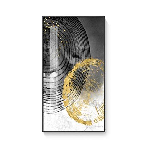 DFSDG Abstrakte helle goldene leinwand malerei schwarz weiß Poster und drucken Moderne dekor wandkunst Bilder für Wohnzimmer gänse (Color : Style 2, Size : 60x80cm Frameless)