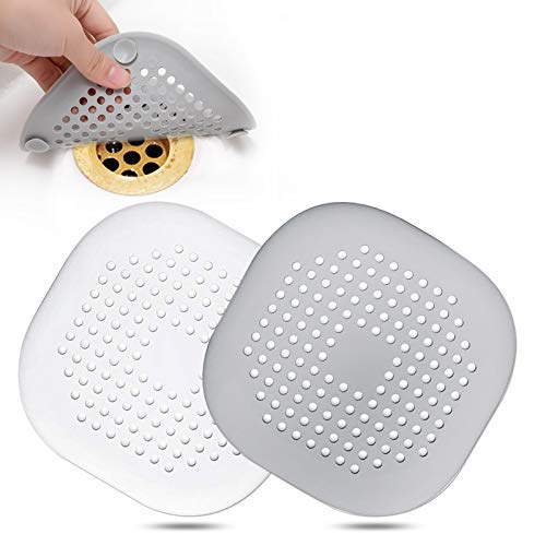 Hair Catcher,Square Hair Drain Cover for Shower Silicone Hair Stopper with Suction Cup,Easy to Install Suit for Bathroom,Bathtub,Kitchen 2 Pack (Grey White)