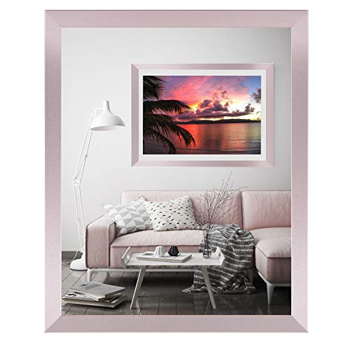 rahmengalerie24 Bilderrahmen DIN A4 Rahmen rosa 21x29,7 cm Holz Acrylglas ohne Passepartout Portraitrahmen Fotorahmen Wechselrahmen für Foto oder Bilder MDF Dekorahmen ohne Bild Alice