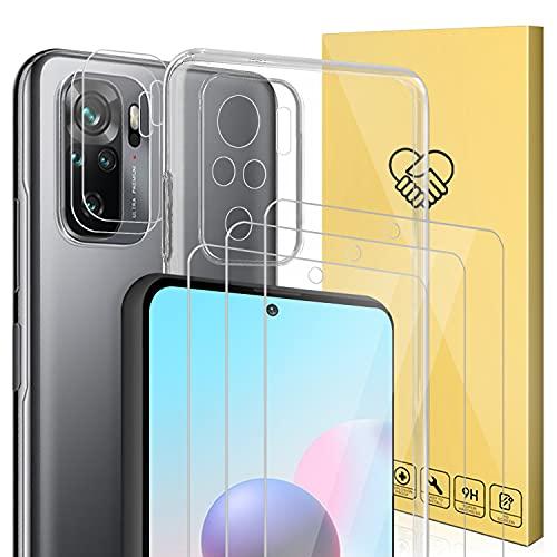 (6 Pack) Compatible con Protector Xiaomi Redmi Note 10/Note 10S,ANEWSIR 3*Cristal Templado Protector de Pantalla y 2*Protector de Lente de cámara y 1*Funda
