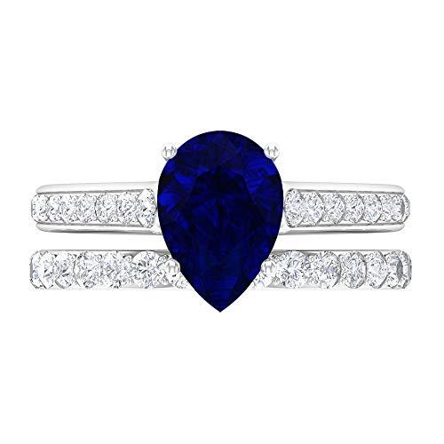 Rosec Jewels 14 quilates oro blanco pera Round Brilliant Blue Blue Sapphire Moissanite