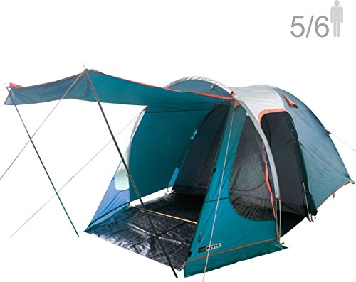 NTK Indy GT XL Sleeps up to 6 Person 14.2 by 8.0 FT Outdoor Dome Family Camping Tent 100% Waterproof 2500mm, European Design, Easy Assembly, Durable Fabric Full Coverage Rainfly, Micro Mosquito Mesh.
