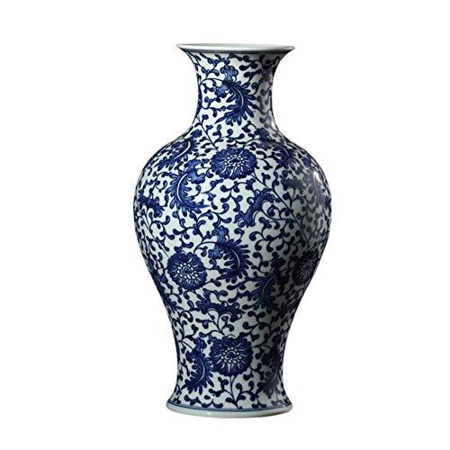 Ethan Jingdezhen blauwe en witte keramische vaas ornamenten met de hand beschilderd veren patroon antieke porselein Chinese levende tafel decoratie