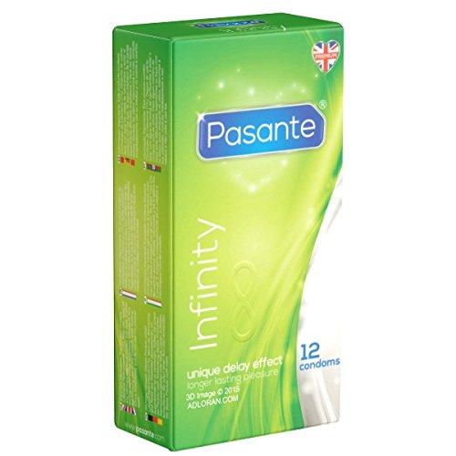 Pasante Infinity (Delay), aktverlängernde Kondome mit Wirkstoff - Orgasmus verzögern - länger durchhalten für optimale Befriedigung, 1 x 12 Stück