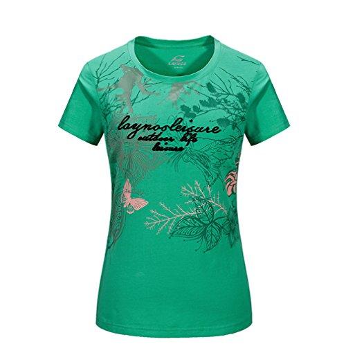 emansmoer Femme Col Rond Manches Courtes T-Shirt Coton Confort été Tee Respirant Sport Quick Dry Wicking Tops (X-Large, Vert)