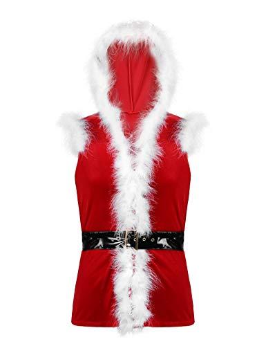 Yeahdor Herren Weihnachten Kostüm Oberteil Weihnachtsmann Kostüm Weste mit Kapuze Ärmellos Samt Mantel mit Kunstfeder Leder Gürtel Weihnachtsfeier Rot L