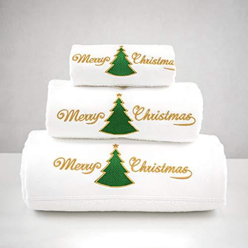 BG EUROPE - Conjunto de 3 toallas de baño Navidad - ref. Green Christmas Tree