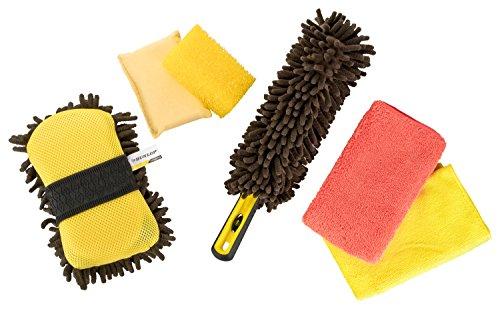 Dunlop - Juego completo de 6 piezas para el cuidado del coche, incluye cepillo para llantas, esponja 2 en 1, paños de microfibra, esponja para insectos, esponja transparente