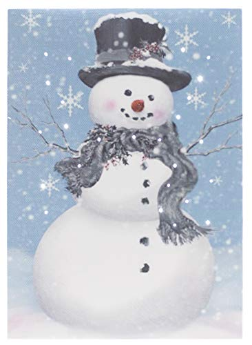 Oak Street Christmas Winter Scenes LED Art 8'x6' Tabletop Canvas Light up Picture 6 Hour Timer (8'x6', Snowman With Snowflakes OSW186472)