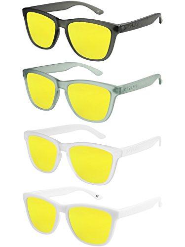 X-CRUZE - Pack de 4 gafas de sol polarizadas estilo Retro Vintage Unisex Caballero Dama Hombre Mujer Gafas - amarillo tipo espejo - Set W -
