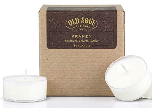 Kraken - Driftwood, Tobacco, Leather Tea Light Candles Soy Norse Mythology Sea Monster Cthulhu - 16