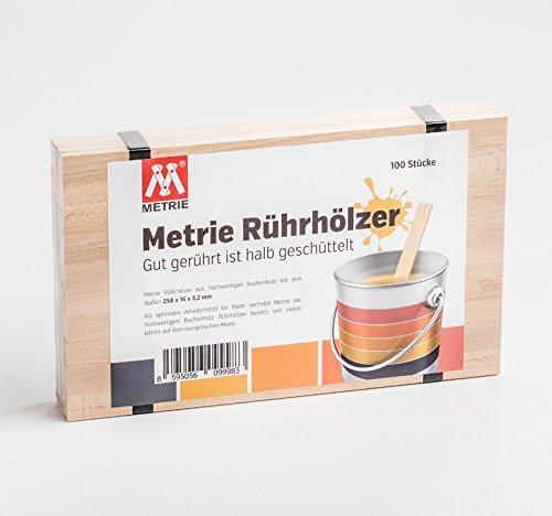 Metrie™ hochwertiges Rührholz | Holzspatel | Farbrührspatel (26 x 1,6 cm) geeignet zum Rühren von Farbe, Lack oder Bastelholz zum Basteln – 100 Stück