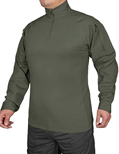 Hard Land Chemise à manches longues pour homme avec fermeture Éclair 1/4, vert militaire, Medium