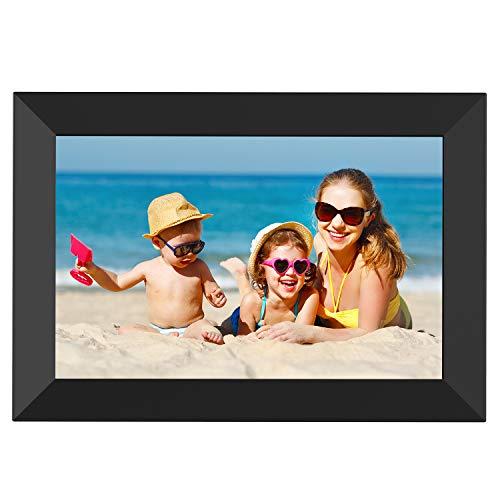 WLAN Digitaler Bilderrahmen, 8 Zoll HD IPS Touchscreen Elektronischer Fotorahmen mit 16 GB Speicher, Automatische Drehung, Einstellbarer Helligkeit, Teilen Sie Fotos- / Videos über die Frameo APP