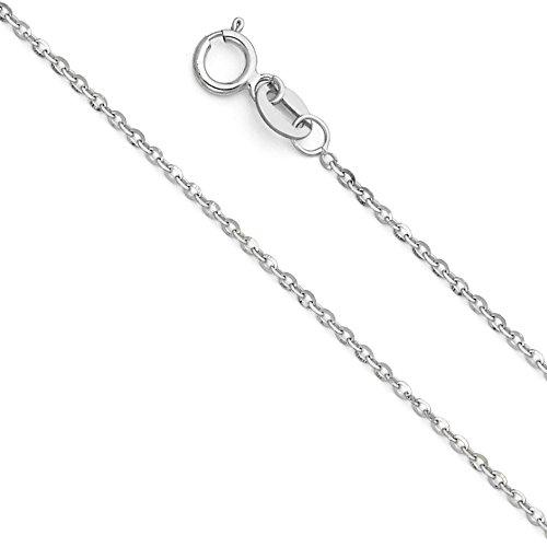 14K Amarillo o Blanco Dorado sólido con eslabones 1mm de lado Diamante Corte Cable Cadena Collar con cierre de anillo.