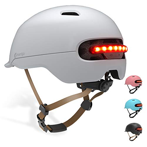 Smart4u Smart Fahrradhelm für Erwachsene, 3 Arten von Warnleuchten Auto Sensor LED Lichter Helm, Bequemer, Leichter, Atmungsaktiver und wasserdichter Fahrradhelm
