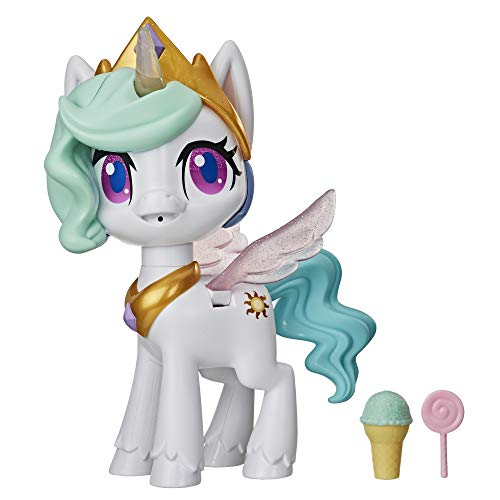 My Little Pony Magical Kiss Unicorn Princess Celestia, Interactive Unicorn Figure with 3 Surprises – Musical Children's Toy that Moves, Lights Up