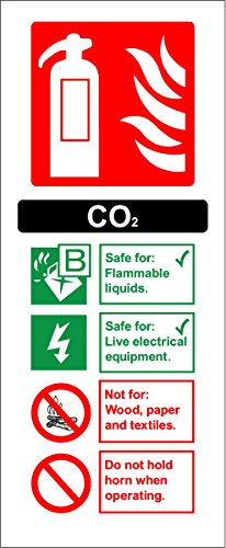 Fire Extinguisher Sign - CO2 (Carbon Dioxide) - Self adhesive sticker 200mm x 80mm