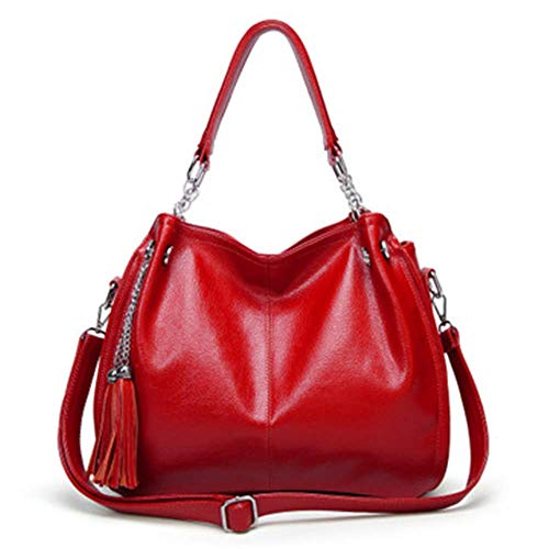 XYAZ Women's trendy handbags, messenger shoulder bags, casual hand bags, fringed tote bags,Red wine