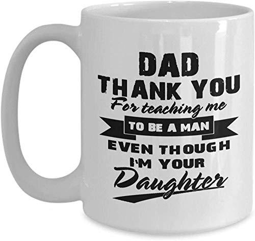N\A Taza del día del Padre - Papá, Gracias por enseñarme a ser un Hombre Taza de café Idea de Hijo, Hija, Esposa para el día del Padre, Taza de café de Navidad