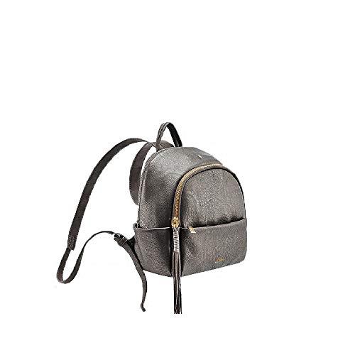 Abbacino - Bolso mochila multibolsillo de piel 80073-70 - 27 x 25 x 14 plata