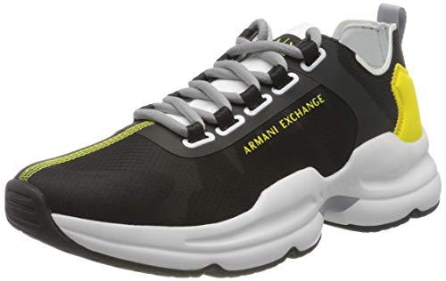 Armani Exchange Chunky Sneakers, Zapatillas para Hombre, Negro (Black+White Logo 00002), 42 EU