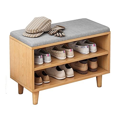 JFJL Cofres De Almacenamiento para Banco De Zapatos, Estante Organizador De Almacenamiento De Zapatos Estable De Madera De 3 Niveles con Cojín De Esponja para Entrada, Dormitorio, Sala De Estar