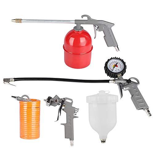 Kit de aire comprimido, accesorios compresor pistola de pulverización + inflador para neumáticos con medidor de presión + pistola de soplado + pistola para la limpieza del aire + tubo
