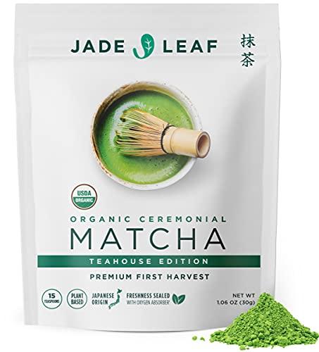 Jade Leaf Organic Matcha Green Tea Powder - Authentic Japanese Origin - Premium First Harvest Ceremonial Grade (1.06 Ounce)